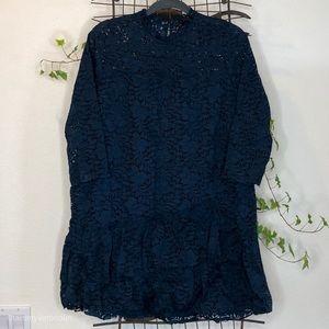 NWOT ZARA Navy Lace Baby Doll Dress Medium